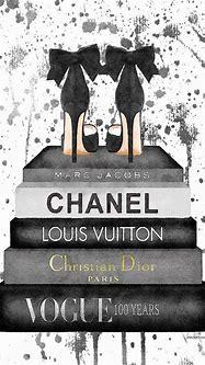 Fashion Bookstack Grey Bow Shoes & Ink Canv...   Amanda ...