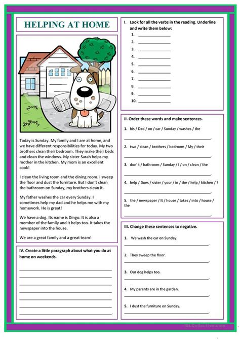 helping at home worksheet free esl printable worksheets made by teachers