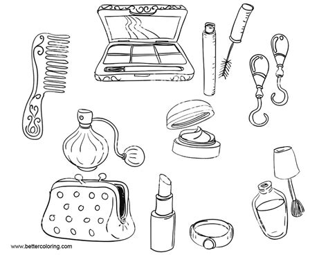 makeup coloring pages make up tools free printable