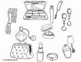 Coloring Makeup Tools Printable Adults sketch template