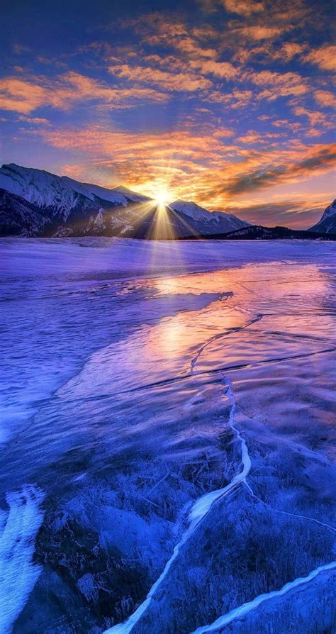 sunrise  amazing  beautiful snowy  ice lake