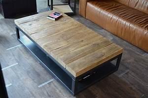Table Basse Bois Brut : table basse industrielle bois brut vieilli et acier ~ Melissatoandfro.com Idées de Décoration