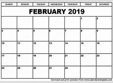 Free Printable February 2019, March 2019, April 2019