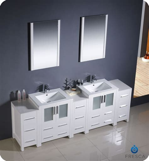 fresca torino  white modern double sink bathroom vanity
