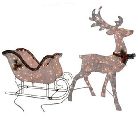 lighted pre lit grapevine reindeer sleigh set outdoor christmas holiday decor ebay