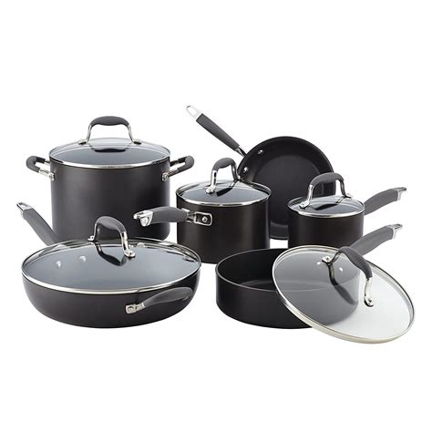 nonstick cookware anodized hard piece anolon advanced glass stoves aluminum gray pots sets cooks amazon kitchen pans ns cooktop handles