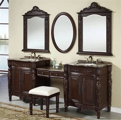 86 inch double sink bath vanity with mirrors and makeup