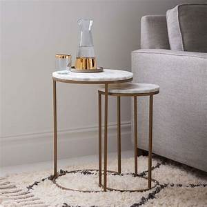 round nesting side tables set marble antique brass With west elm round marble coffee table