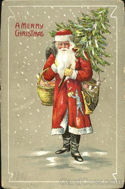 fashioned santa  falling snow santa claus