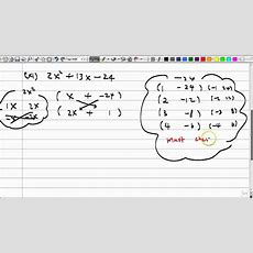 Algebra 591 Factoring Pattern For Ax2 + Bx + C Youtube