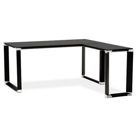 bureau en verre trempé noir bureau d 39 angle design master en verre trempé noir