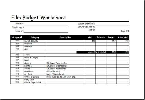 film budget worksheet template  excel excel templates