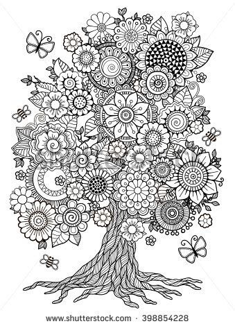 blossom tree coloring book adult doodles stock