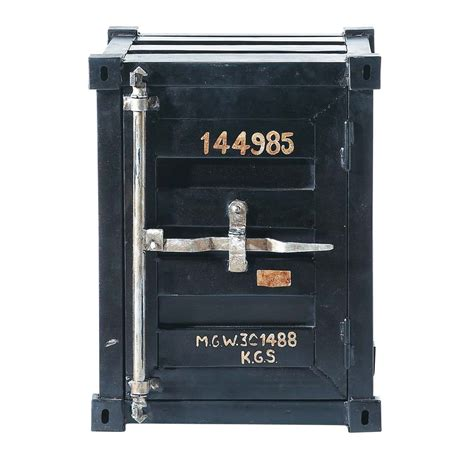 bout de canapé industriel bout de canapé container en métal noir l 46 cm carlingue
