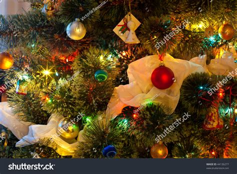 decorated trees with colored lights