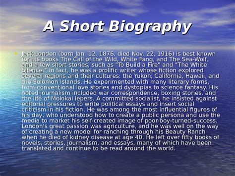 Jack London A Short Biography