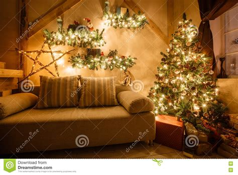 Home Interior Tree Picture : Modern Christmas Interior Stock Image