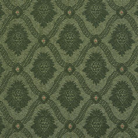 Brocade Upholstery Fabric by A488 Forest Green Two Toned Brocade Medallion Upholstery