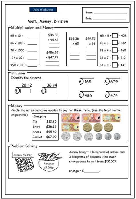 maths worksheets nz money free maths worksheets year 2 nz 1 homework activities subtracting - Division Worksheets Nz