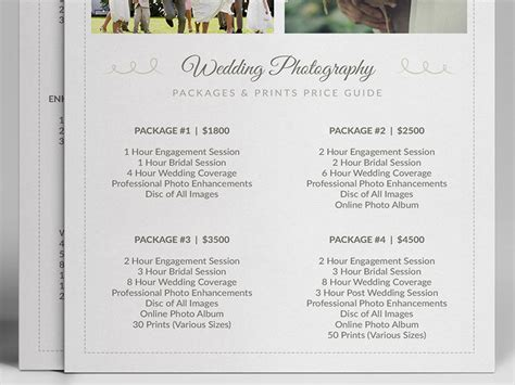 wedding photographer pricing guide psd template   behance