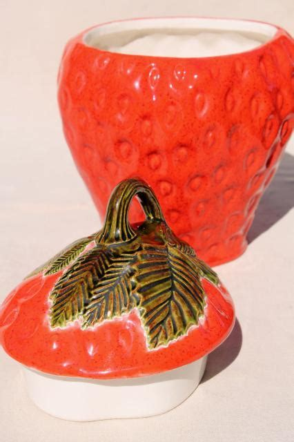 big red strawberry, 70s 80s vintage handmade ceramic
