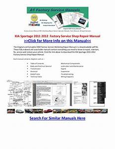 Kia Sportage 2011 2012 Factory Service Shop Repair Manual