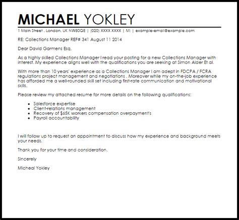 credit and collection manager resume cover letter