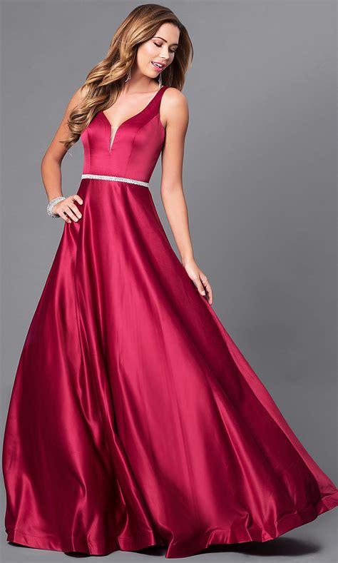 classic long  neck   satin prom dress promgirl