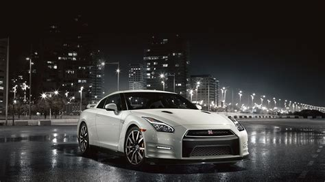 nissan gt  sports car  pearl white color