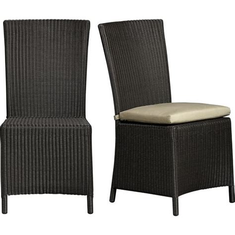 crate and barrel dining room chair cushions captiva java side chair and sunbrella 174 cushion