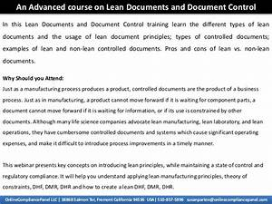 an advanced course on lean documents and document control With documents control course
