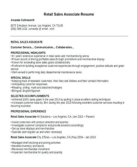 Resume For Retail With No Experience by Cv Exles For Retail Uk Collection Resume