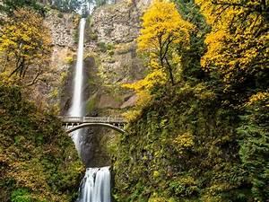 Multnomah, Falls, Columbia, River, Gorge, Oregon, Waterfall, Autumn, Wallpapers, Hd, Desktop, And