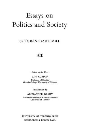collected works  john stuart mill volume xix