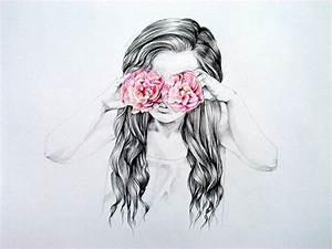 drawing-fashion-girl-flower :) | fashion drawings ...