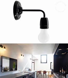 Applique Salle De Bain Noire : applique en porcelaine noire collection pure porcelaine luminaires ~ Teatrodelosmanantiales.com Idées de Décoration