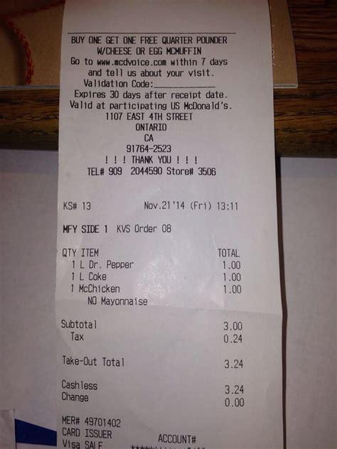 my receipt from buying my chicken sandwich yelp