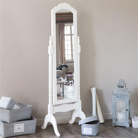 miroir de chambre sur pied miroir psyché en bois de paulownia blanc h 169 cm céleste