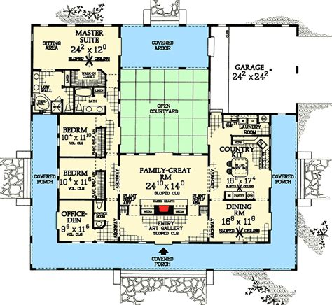 plan  central courtyard dream home plan  images pool house plans courtyard house