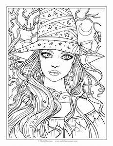 Happy Halloween and Pretty Witch Coloring Page for Kids ...