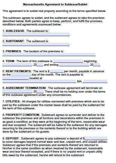 sublet agreement template  printable documents