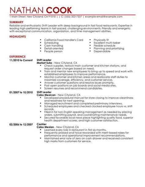 customer service resume skills and abilities shift leader resume exle restaurant bar sle resumes livecareer