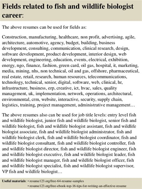 Fish And Wildlife Biologist Resume by Top 8 Fish And Wildlife Biologist Resume Sles