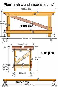 Free work bench plans Feet and inches dimensions