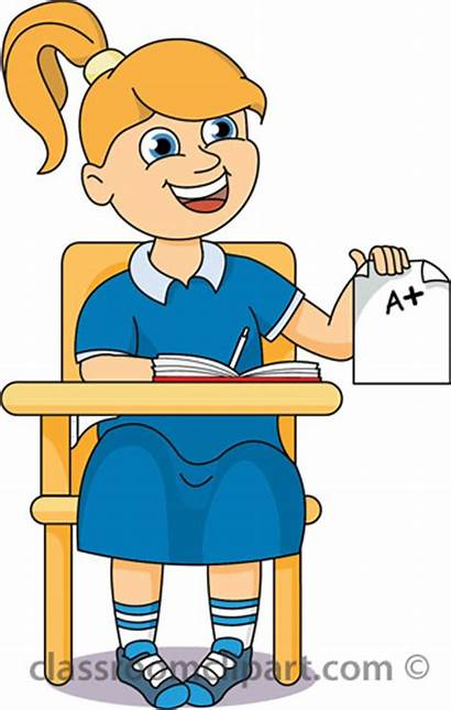 Student Desk Classroom Clipart Clip Assignment Holding