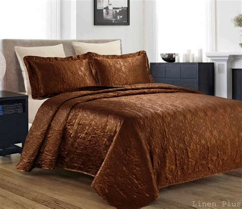 Coverlet King by 3 Silky Satin Brown Quilted Bedspread Coverlet Set