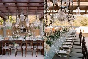 Crystal chandeliers extravagant wedding decor