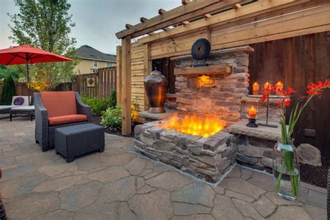 backyard patio ideas with fireplace design landscaping