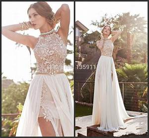 2014 Lace Chiffon Prom Dresses Halter Beaded Crystals Side ...