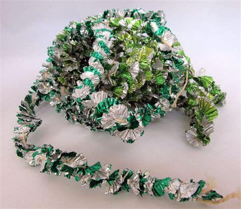 vintage silver green aluminum foil tinsel tree garland st